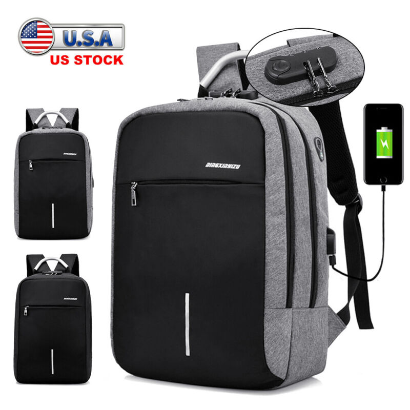 Anti-theft Laptop Backpack USB Charge Port School Travel Computer Bag Men Women
