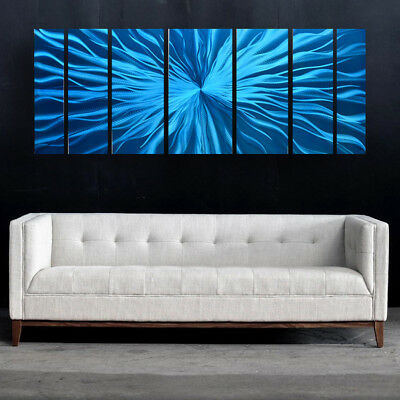 Modern Abstract Metal Wall Sculpture Art Painting Home Decor Design Teal Aqua