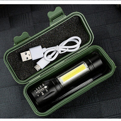 Multi-functional USB Rechargeable COB LED Outdoor Light Lamp Flashlight Torch