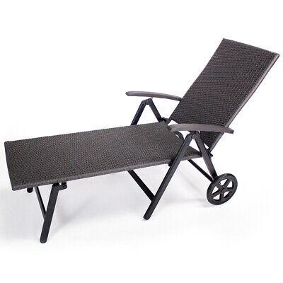 B-Ware Aluminium Rattanliege Rollliege Relaxliege Sonnenliege Gartenliege Grau