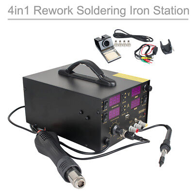 4in1 909d Heat Hot Air Gun Rework Station Soldering Iron Dc Power Supply 800w