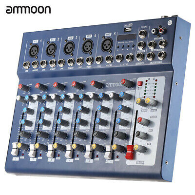 7CH Audio Mixer DJ Sound Mixing Console Amplifier Studio fr Recording Stage C6U5