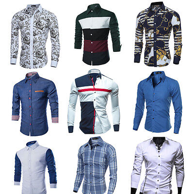 Fashion Men Luxury Stylish Slim Fit Shirt Long Sleeve Casual Dress Shirt Top LOT