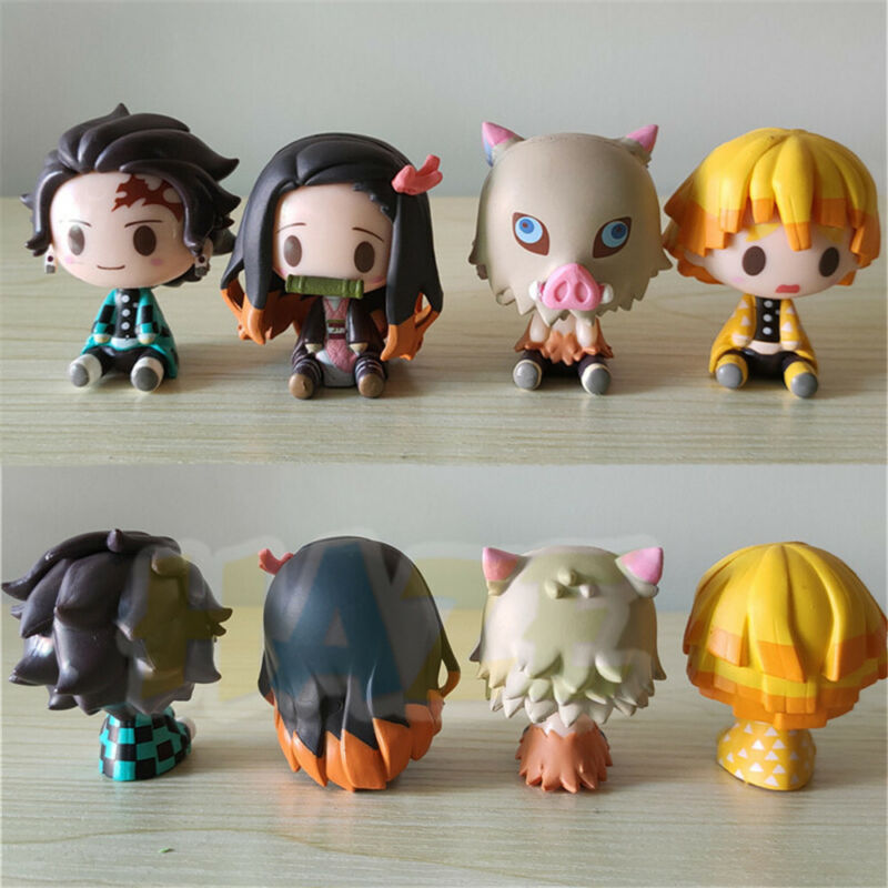 4pcs/set Demon Slayer:Kimetsu no Yaiba Kamado Nezuko&Kamado Tanjiro Figure Model