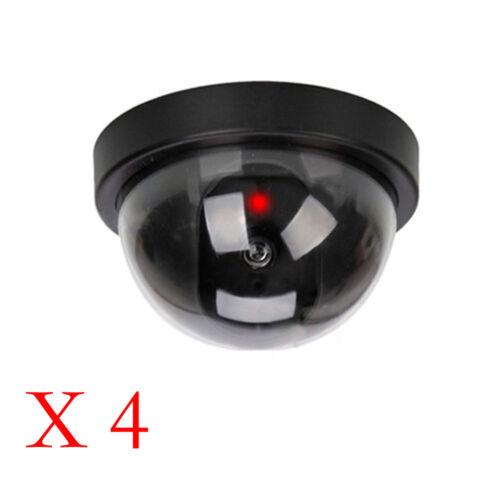 4Pc Dummy Dome Security Camera CCTV False IR LED Flashing Red Light Indoor