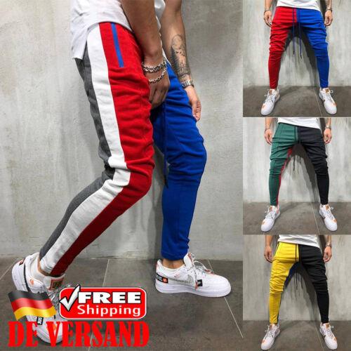 Herren Trainingshose Patchwork Sporthose Fitness Gestreift Slim Fit Jogginghose