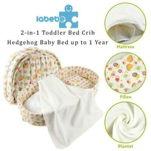 NEW Labebe 2-in-1 Toddler Bed Crib, Hedgehog Baby Bed up to 1 Year, Mini Crib Bedding/Bed Toddler/Crib Bed Baby/Co Be...