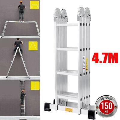 4.7M Aluminium Telescopic Ladder Multi-Purpose Extendable Fold 16 Steps Laders