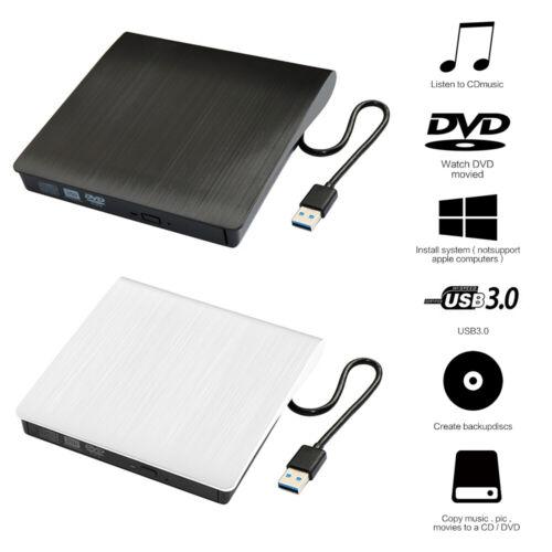 Slim External USB 3.0 DVD RW CD Writer Drives Burner Reader