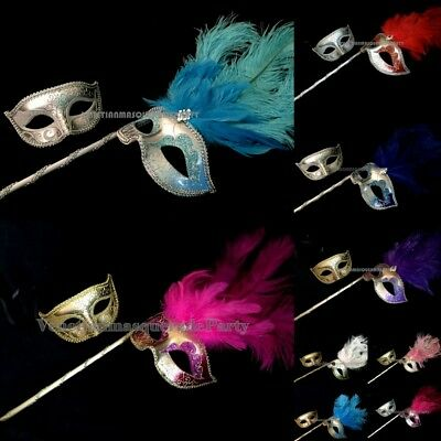 Halloween Costume Party Dress up Prom Party Feather Stick Mask Pair - Paired Up Halloween Costumes