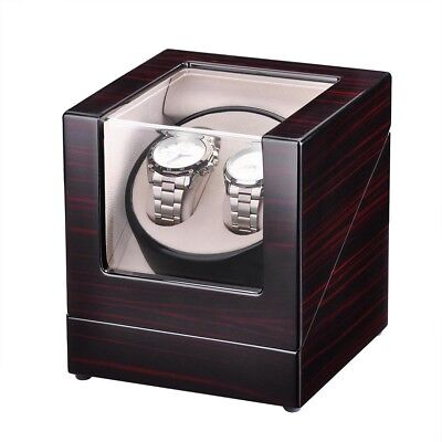 Deluxe Double Dual Automatic Rotation Watch Winder Wood Storage Display Case Box Deluxe Wood Watch Winder