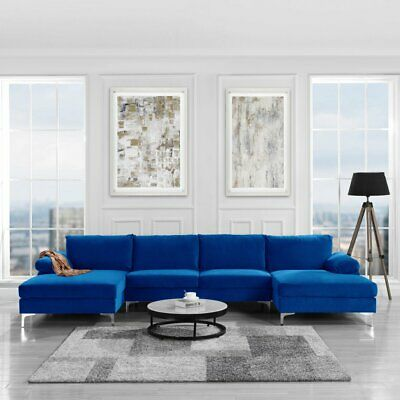 Modern U Shape Sectional Sofa Double Chaise Lounge Royal Blue Velvet Couch