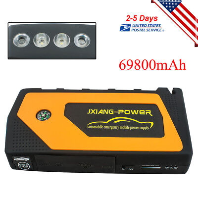 US Best Portable Jump Starter Car Battery Charger Mini Power Bank LED Light