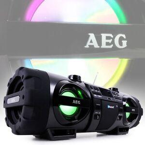 Stereoanlage Ghettoblaster Boombox Radio CD MP3 USB AUX Bluetooth Tragegurt AEG