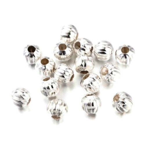 Silver Plated Fluted Corrugated Round Metal Beads 5mm, 200pcs (fnsp0575c)