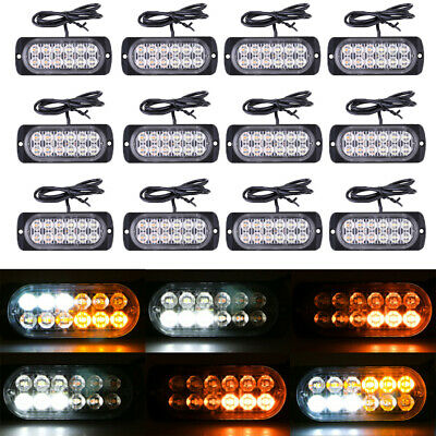 12X Amber/White 12 LED Truck Emergency Beacon Warning Hazard Flash Strobe Lights