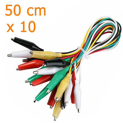 10pcs Electric Jumper Cables With Double Ended Alligator Crocodile Clips 500mm