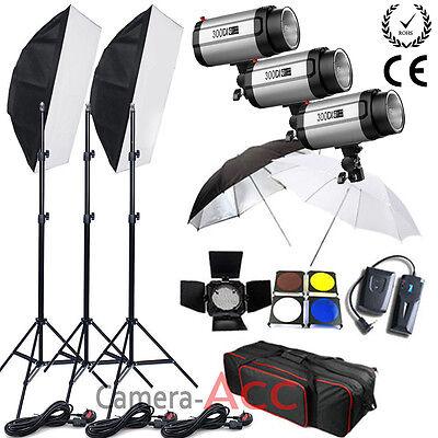 900W Flash Lighting Kit Set Studio Photography Strobe Light Portrait 3x300W