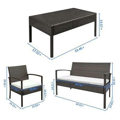 4 PCS Rattan Patio Furniture Set Garden Lawn Sofa Set /w Cushion Seat Mix Wicker 3
