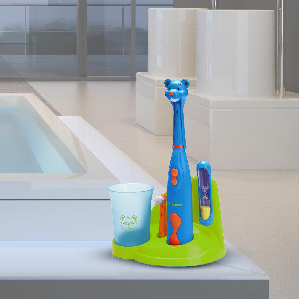 Jungen Zahn Pflege Set Mund Hygiene Reinigung Sanduhr Bär Motiv Big Light