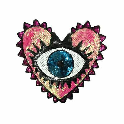 Sequin Heart Eye (Sew On) Embroidery Applique Patch Sew Iron Badge - Heart Eye Patch