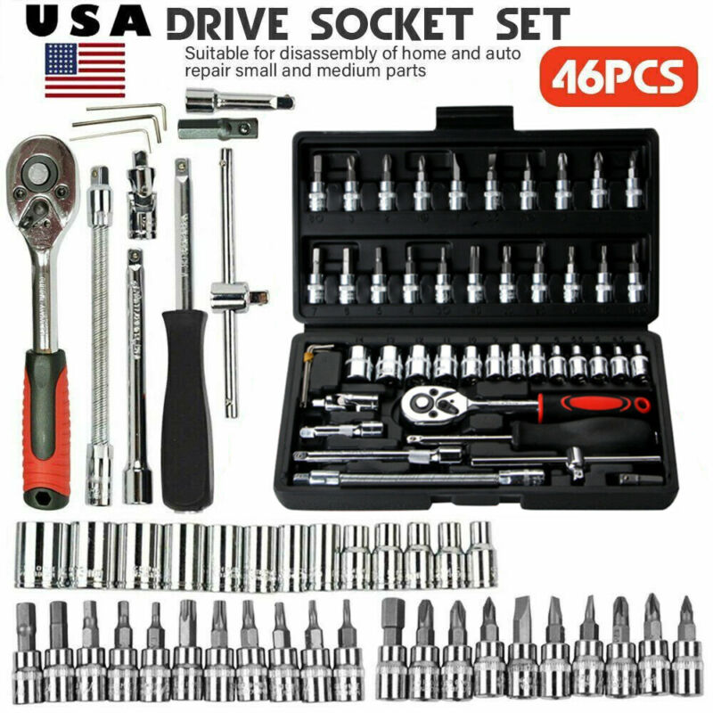 46 pcs 1/4 inch Drive Impact Socket wrench tool Set with dri