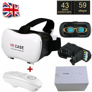 3D Virtual Reality VR Case Glasses Headset Helmet With Bluetooth Remote Control
