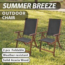 Folding Garden Chairs 2 pcs Solid Acacia Wood and Textilene-41747