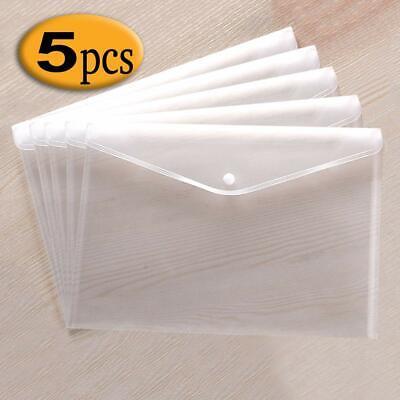 Szjias 5pcs Clear Waterproof Plastic Envelopes Folders Premium File Holder