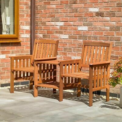 Garden Furniture - Wido HARDWOOD GARDEN PATIO LOVE BENCH SEAT WOOD OUTDOOR FURNITURE CHAIRS & TABLE