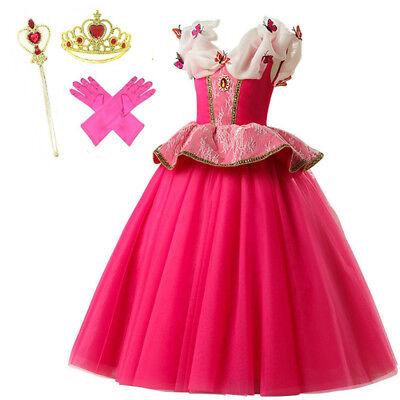 Mädchen Kinder Aurora Princess Sleeping Beauty Cosplay Kostüm Größe 3-10 Jahre