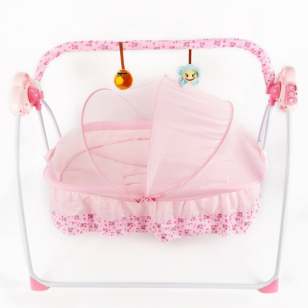 Pink Remote Control ABS Electric Auto Baby Infant Swing ...