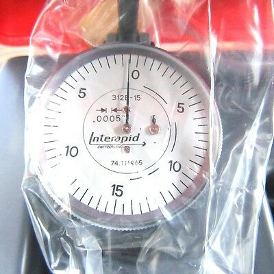 New Interapid 312b-15 Test Indicator Only .0005 .060 0-15-0