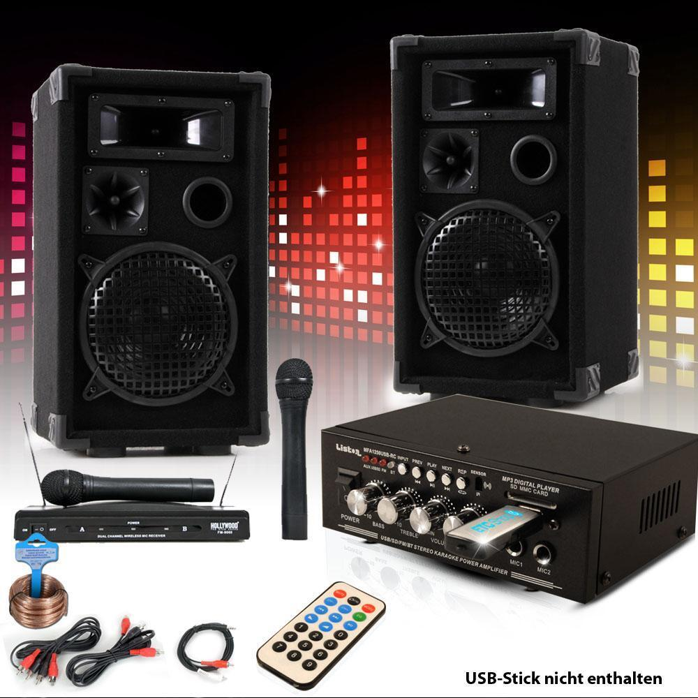 Party Musik Karaoke Anlage Boxen Funk Mikrofon Verstärker USB MP3 SD Bluetooth