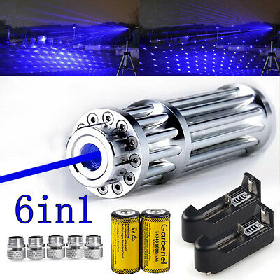 1w 1000mile Tactical 405nm Blue Laser Pointer Pen Visible Beam Light Laser5caps