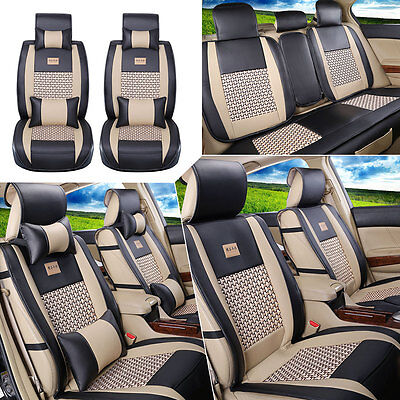 (US PU Leather+Cooling Mesh Car Seat Cover Front+Rear 5 Seats Cushion W/Pillows)