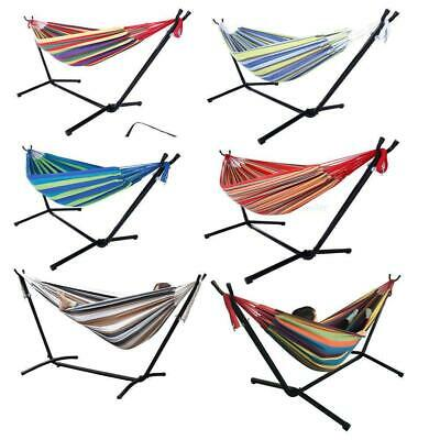 Double Hammock With Space Saving Steel Stand Patio + Portable Carry Case 6 Color