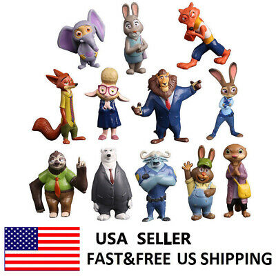 Disney Zootopia Officer Judy Hopps Nick Bogo Action Figure Kids Toys Gift 12 PCS