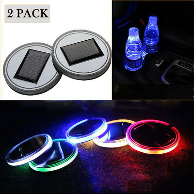 2x Universal Waterproof Solar LED Car Cup Holder Mat Pad Bottle Drinks Coaster - Cup Holder Coaster