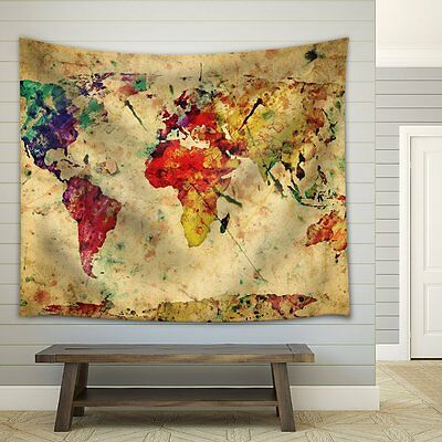 Watercolor Map Of The World (Wall26® A Map of the World in Water Colors - Fabric Tapestry - 68x80)