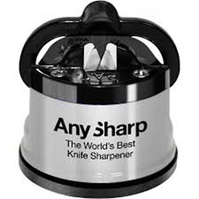 Anysharp Knife Sharpener Silver - Worlds Best (Best Kitchen Knife Sharpener)