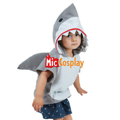 Mascot Costume For Kids (Kids Little Shark Halloween Costume Mascot Hoodie for Boys Girls)
