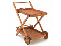 Wooden Serving Trolley with Removable Serving Tray - Garden Tea Trolley