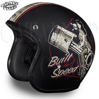 3/4 Motorcycle Helmet Pin-Up Girl Open Face Helmet DOT Daytona Cruiser ALL