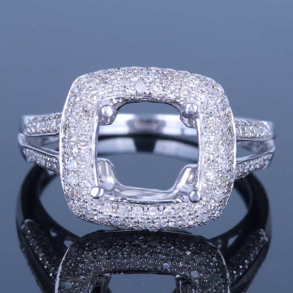 8x8mm Cushion Solid 10k Rose Gold Pave Diamond Semi Mount Wedding Fine Ring Sets