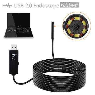 Waterproof 2m Mini Usb Endoscope Borescope 5.5mm Lens Inspection Camera 6 Led