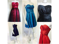Job lot 200+ Gorgeous Prom Bridesmaid Party Dresses some with taffeta overlay. 5 sizes 5 colours