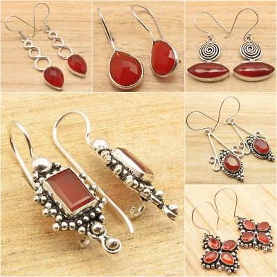Many Choices ! 925 Silver Overlay Natural Red CARNELIAN FASHION Earrings Jewelry