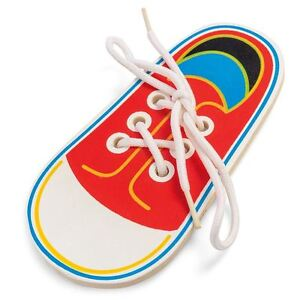 Wooden Lacing Shoe Learn to Tie Laces Educational Motor Skills