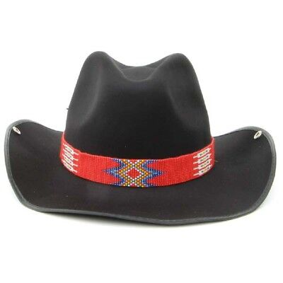 Red White And Blue Cowboy Hat (New Red Blue White Yellow Seed Beaded Cowboy Hat band)
